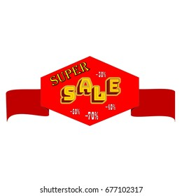 Super SALE banner. Large banner for advertising. Set colorful ribbon on white background. Offer discount sale on market. Selling offer. Big banner for advertising. Design element. Vector illustration