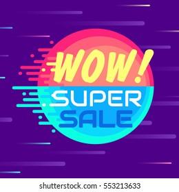 Super sale banner. Modern cartoon style. Colorful flying comet. Vector illustration.