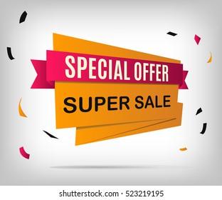 Super sale banner. Orange discount poster on a gray background. Special offer. Vector illustration, eps 10