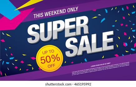 Super sale banner. Sale poster