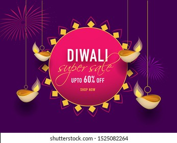 Super Sale banner or poster design decorated with hanging oil lamps (Diya) and 60% discount offer on purple background for Diwali Festival.
