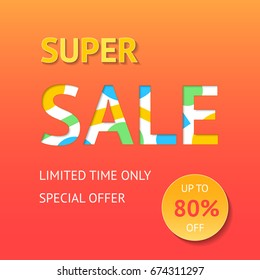 Super sale banner, poster, flyer. Vector design of sale template. Vector illustration of colorful motley design for business.