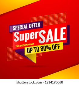 super sale banner red design