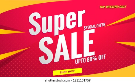 super sale banner red.Vector template