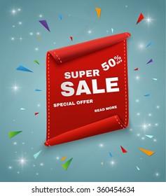 Super Sale Banner. Ribbon. Vector Illustration