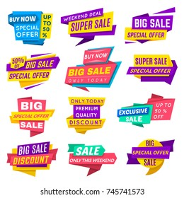 Super sale banner. Special offer banner for web design and discount promotion. Vector sale tag flat style illustration isolated on white background