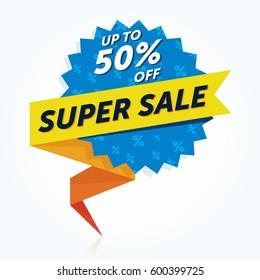 Super Sale banner. Sale sticker. Vector illustration.