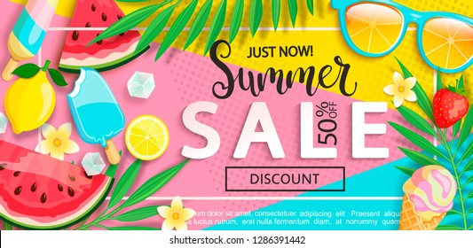 Super sale banner with symbols for summer time such as ice cream,watermelon,strawberries,glasses.Vector illustration of discount template card, wallpaper,flyer,invitation, poster,brochure,voucher.