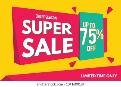 Super Sale Banner Template. Sale Banner Design. Abstract Sale Banner.