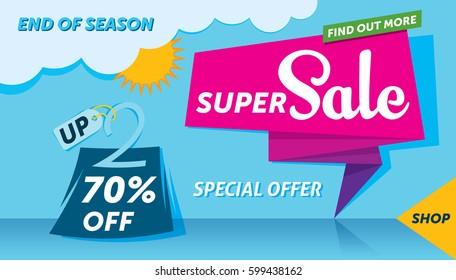 Super sale banner template design. End of season. Summer background