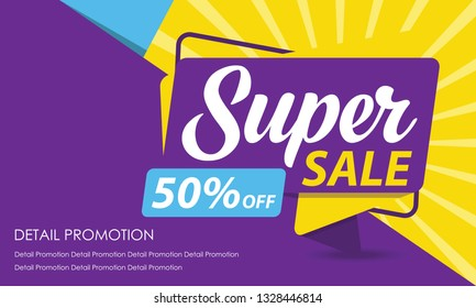 Super Sale Banner Template. Discount Up to 50%. Vector Template Poster Sale Promotion.