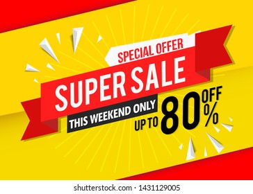 super sale banner template red.Vector label price