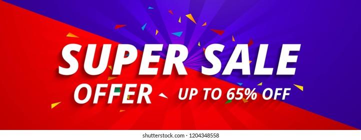 Super sale banners colorful template design