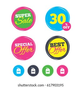 Super sale and best offer stickers. Sale price tag icons. Discount special offer symbols. 10%, 20%, 30% and 40% percent discount signs. Shopping labels. Vector