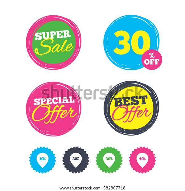 Super sale and best offer stickers. Sale pointer tag icons. Discount special offer symbols. 10%, 20%, 30% and 40% percent discount signs. Shopping labels. Vector