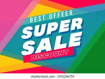 Super sale big finale special offer concept horizontal banner template design.Design template discount abstract promotion layout poster.Mega sale vector illustration.Just shop now.Modern bright flyer.