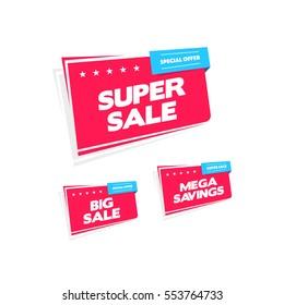 Super Sale, Big Sale & Mega Savings Labels