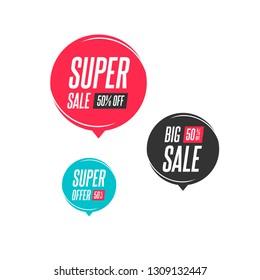 Super Sale, Big Sale & Super Offer 50% Off Labels