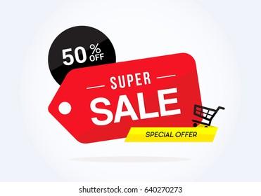 Super sale with big red tag on white background, Super Sale vector illustration.