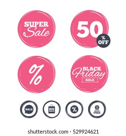 Super sale and black friday stickers. Sale speech bubble icon. Discount star symbol. Big sale shopping bag sign. First month free medal. Shopping labels. Vector