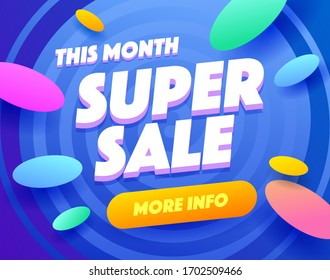 Super sale blue banner offer template. Marketing poster for magazine advertising , discount sales, shops, email newsletters