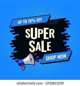 super sale blue and black abstract sale banner shop now