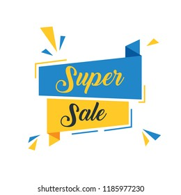 Super Sale with Blue and Yellow Ribbon Banner