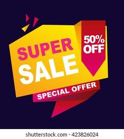 Super sale color banner. Vector illustration.
