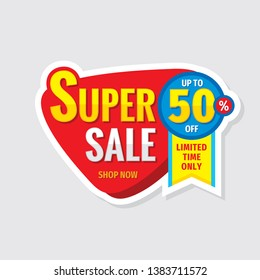 Super sale concept banner. Promotion poster. Discount up to 50% off creative sticker emblem. Special offer label. Limited time only.
