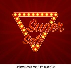 Super sale concept. Black friday sign. Black friday sale neon banner. Vector design. Light banner. Game sign.