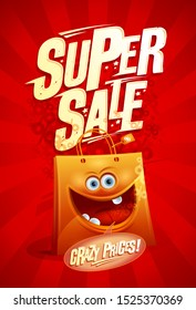 Super sale, crazy prices - vector poster design with cartoon funny paper shopping bag