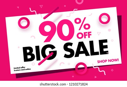 Super Sale Creative Banner 90% OFF Sale.  Special Price Discount up to 90%  Vector Banner Design Template. Online and in Stores.