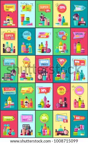 super sale decorative medical cosmetics promotional stock vector