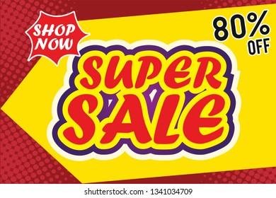Super Sale Design for business. Discount Banner Promotion Template
