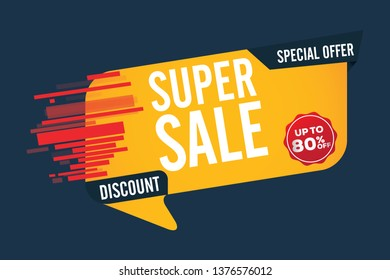 Super Sale Design for business for business. Discount Banner Promotion Template. Trendy, Modern Super sale banner.  Super Sale banner text with - Special Offer, Discount, 80% off  - Vector