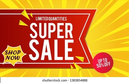 Super Sale Design for business. Discount Banner Promotion Template