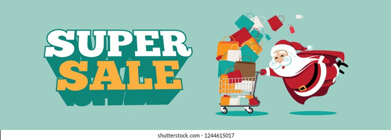 Super sale design with Cartoon Superman Santa Claus super hero pushing a shopping cart overflowing with shopping bags. Eps10 vector illustration.
