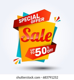 Super sale discount banner design.Layout for online shopping, product, promotions, website and brochure.Special offer 50% off. Vector template background.