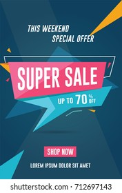 Super sale flyer / banner template. Vector illustration for social media banners, promotion, flyer and poster