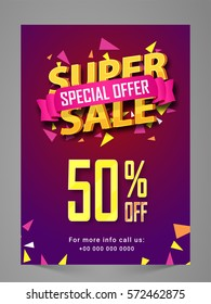 Super Sale Flyer, Poster, Banner or Pamphlet with Special 50% Discount Offer.