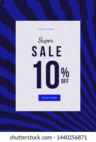 Super sale geometric banner with 10% off discount.