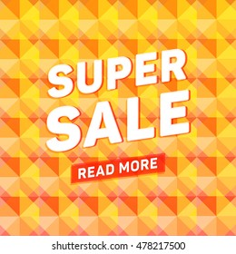 Super sale geometric polygonal poster with read more special offer vector design
