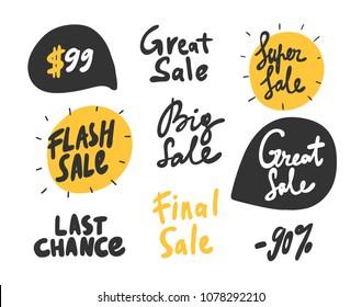 Super sale, great, flash, big final, chance. Sticker set for social media content. Vector hand drawn illustration design. Bubble pop art comic style poster, t shirt print, post card, video blog cover