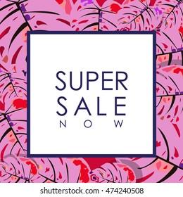 super sale illustration over tropical leaves plants backdrop