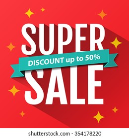 Super Sale inscription, design template. Super Sale banner. Sale poster. Super Sale discount up to 50%. Vector illustration