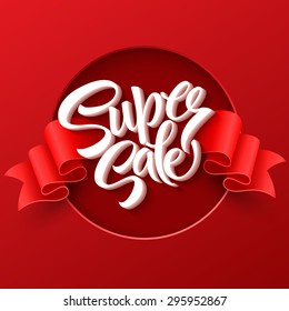 Super Sale lettering with sale labels. EPS 10