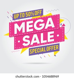 Super sale, Mega sale, Sale Banners, Labels and Stickers. Vector Illustration