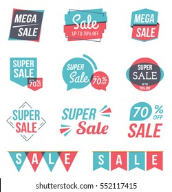 Super sale and mega sale banners, sale stickers set, flat design, vector eps10 illustration