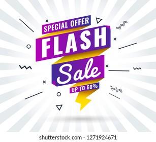 Super Sale, Mega. Flash. this weekend special offer banner, up to 10% 30% 50% 60% off. Vector illustration.