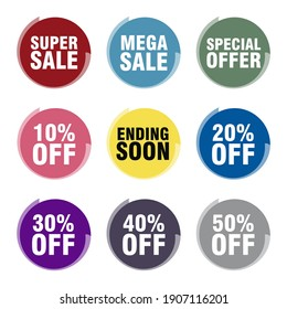 Super sale Mega sale Special Offer Ending Soon Sale tags set vector badges template up to 10 20 30 40 50 percent off with abstract circular shapes multicolor